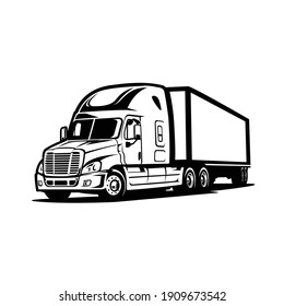 Modern semi truck 18 wheeler with trailer attached isolated vector image