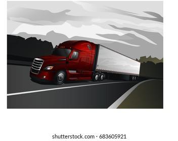 Modern Semi-Truck with Box Trailer