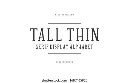 Modern serif typeface design set. Vector illustration of typography alphabet.