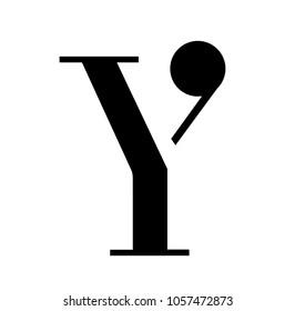 Modern serif y letter logo icon emblem