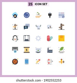 Modern Set of 25 Flat Colors and symbols such as business; server; growth; database; devices Editable Vector Design Elements