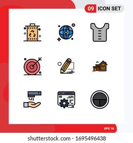 Modern Set of 9 Filledline Flat Colors and symbols such as darwing; seo; baby; search; media Editable Vector Design Elements