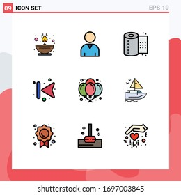 Modern Set of 9 Filledline Flat Colors and symbols such as night; birthday; toilet; balloons; back Editable Vector Design Elements