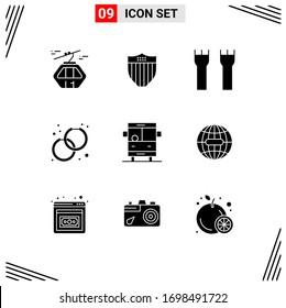 Modernes Set aus 9 festen Glyphen, Bild der Mode; Zubehör; usa; zubehör; Vektorillustration-Design-Elemente für Festungen