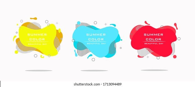 A modern set of abstract amoebic banners. Yellow, red, blue. Vector banner template. Template for use in web or print design.