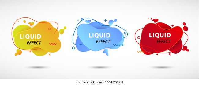 Modern set of abstract banners. Set of Gradient abstract banners with flowing liquid shapes. Template for the design of a logo, flyer or presentation. Vector eps 10.
