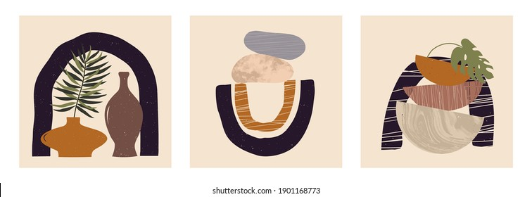 Modern set of abstract contemporary aesthetic backgrounds with geometric balance shapes, stairs, plants, pots. Trendy mid century modern art poster prints, boho minimalistic wall decor