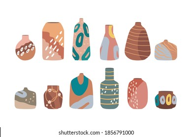 Modern set of ceramic vases, jugs, pots. Set of ceramics for home decoration.  Flat vector cartoon illustration isolated on a white background