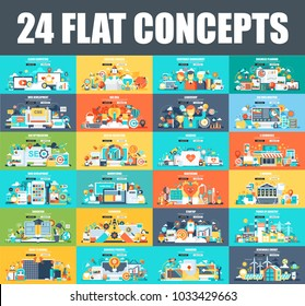 Modern set of flat concept web banner of Cloud Computing, E-Banking, E-Commerce, Marketing, Teamwork, Education, SEO, Development. Conceptual vector illustration for web and graphic design, website.