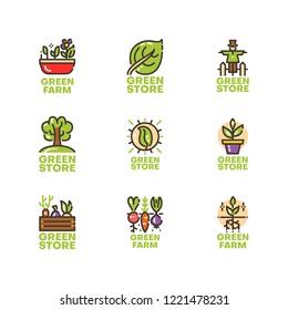 Modern set of gardening logos. Premium green logotypes collection. Vector farm illustration. Line plant pictogram pack.