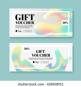 A modern set of gift certificate to the store. A gift certificate to a hologram. Leaflet for the store cosmetics and clothing.