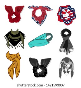 Modern Set of Headband and scrunchy for sport and fashion. Vector Illustration.