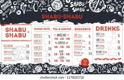 Modern shabu sukiyaki restaurant template with grunge doodles and lettering. Asian vector template design