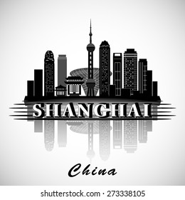Modern Shanghai city skyline design. China