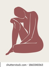 Modern shapes abstract art hand-painted art illustration Matisse inspired female figurative