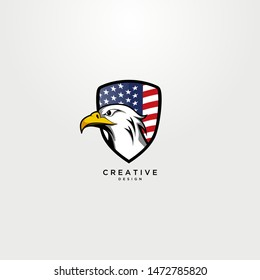 Modern shield with American flag and eagle in the design.