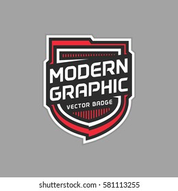 Modern shield badge vector graphic emblem logo design