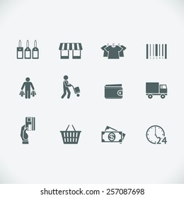 Modern shopping icon. Retail and shopping cart, shipment and price tag. Vector illustration