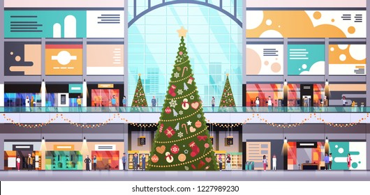 modern shopping mall center decorated for christmas and new year holiday concept. Many people big retail store interior horizontal flat vector illustration