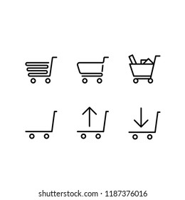 Modern shopping trolley icon set