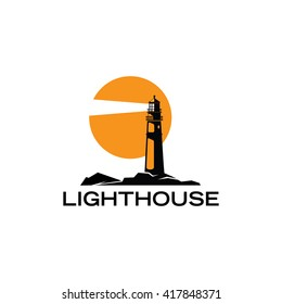 Modern Silhouette Lighthouse icon style vector illustration over white isolated background