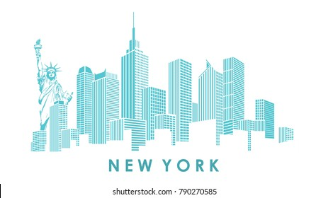 Modern silhouette of the New York city skyline