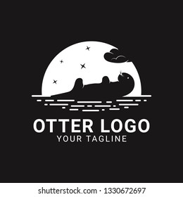 A modern silhouette style of an otter or badger logo