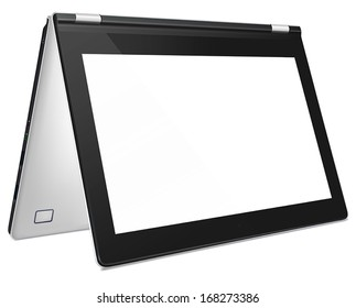 Modern silver convertible laptop with blank white screen, isolated on white background. Copy space for user content.