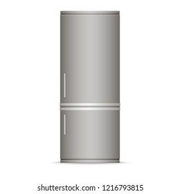 Modern silver refrigerator. Home appliances.