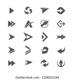 Modern simple black icons and logos set of arrows