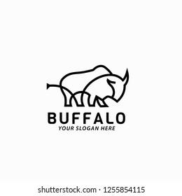 modern and simple buffalo logo vector