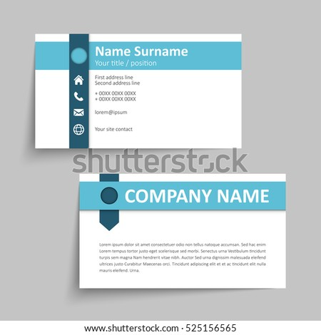 Modern Simple Business Card Set Template Stock Vector Royalty Free