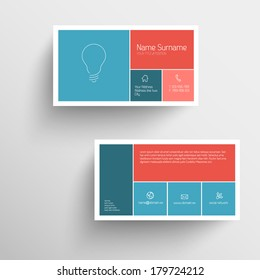 Modern simple business card template with flat mobile user interface (red and blue)