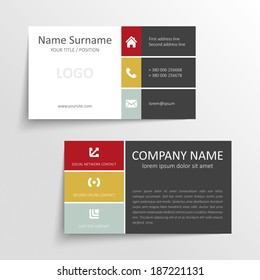 Modern simple business card template with flat user interface