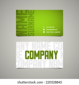 Modern simple business card template with big letterings