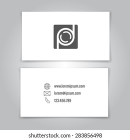 Modern simple business card template with camera conceptual logo. Vector illustration.