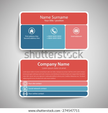 Modern simple business card template vector stock vector royalty modern simple business card template vector format wajeb Image collections