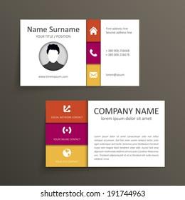 Modern simple business card vector template.