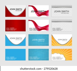 Modern simple business cards template set.