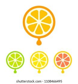 Modern and simple citrus juice icon set. Orange, lemon, lime and grapefruit slices with drop of juice. Logo design symbol.