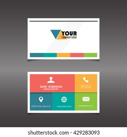 Modern simple color box design  business card with flat user interface. template, vector illustration