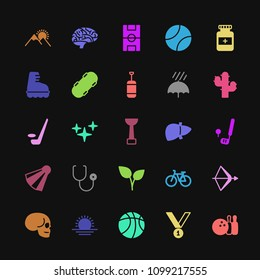 Modern Simple Colorful Set of health, sports, nature Vector fill Icons. Contains such Icons as  sun, sunrise,  bowling,  sport,  nature, bike and more on dark background. Fully Editable. Pixel Perfect
