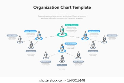 Modern simple company organization hierarchy schema template with place for your content. Easy to use for your website or presentation.