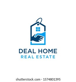 Modern simple Deal Home Logo Template Design, Real Estate logo,sell home and deal.