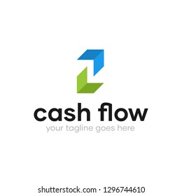 Modern Simple Up and Down Arrow Cash Flow Logo Design Template