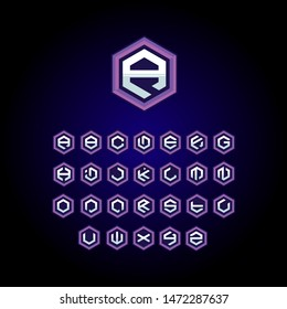 modern simple e sports template font, gaming font logo and poster element, hexagonal form lettering alphabet. initials esports logo