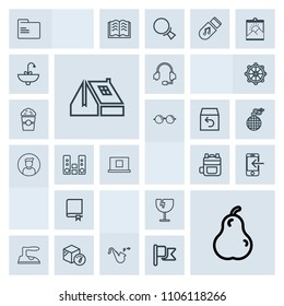 Modern, simple, grey vector icon set with crash, headset, home, internet, call, encyclopedia, jazz, destruction, technology, fresh, rucksack, shattered, weight, food, box, ironing, office, pear icons