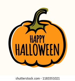 Modern simple halloween vector banner poster card illustration with pumpkin.