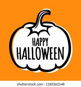 Modern simple halloween vector banner poster card illustration with pumpkin.