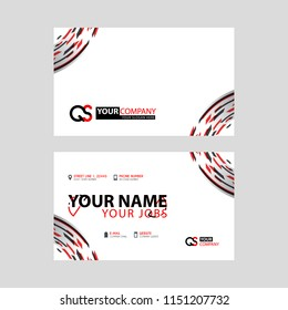 Modern simple horizontal design business cards. with QS Logo inside and transparent red black color.